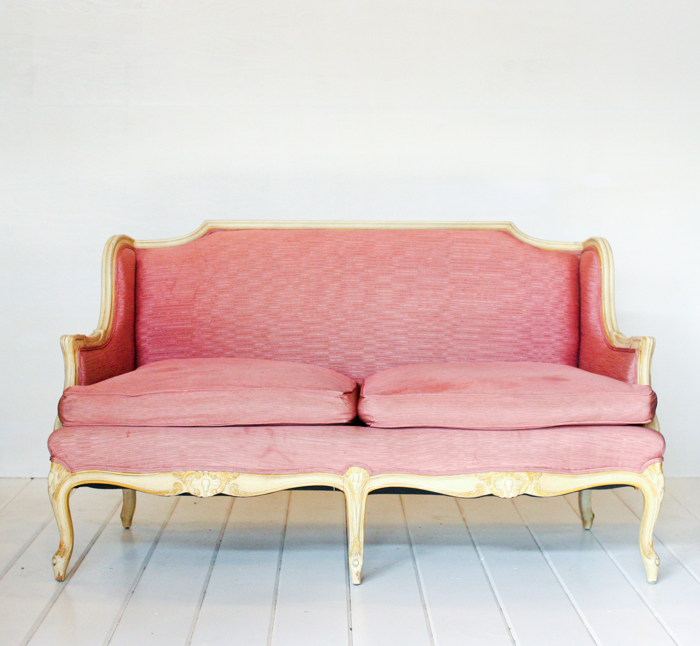 Pink settee vintage rentals in connecticut Furniture in rental home