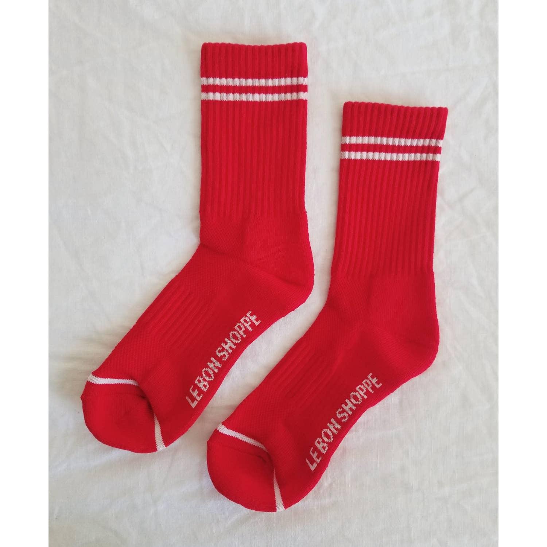 red striped socks