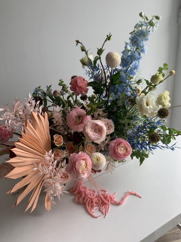 gender reveal floral arrangement